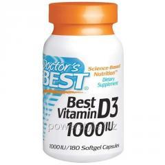 Витамин Д3, Vitamin D3, Doctor's Best, 1000 МЕ, 180 капсул
