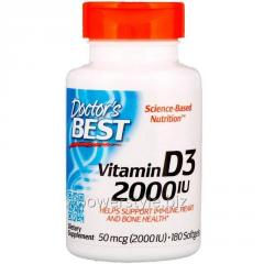 Витамин Д3, Vitamin D3, Doctor's Best, 2000 МЕ, 180 капсул