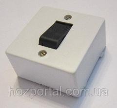 Выключатель накладной одинарный с черной клавишей