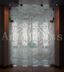 Doors are glass sliding, oar, retractable, doors glass entrance and interroom - a decor on glass, art processing flew down