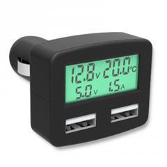 5 в 1 ЖК Вольтметр,термометр,амперметр,зарядка в прикуриватель зелёный