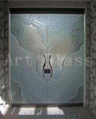 Doors entrance glass: oar, sliding