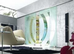 Двері розсувні скляні, декорування скла (фьюзинг, гравірування, матирование, піскоструминна обробка)