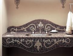Мозаичная плитка для ванной, кладка мозаики,