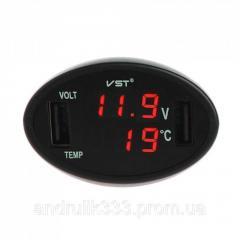 Автомобильный вольтметр+2 USB+термометр в...
