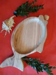 Деревянная тарелка рыбка