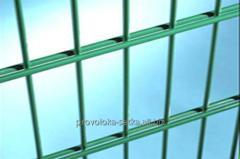 2Д забор усиленный: секция 2,03х2,5м Øгориз. 2х6мм, Øвертик. 5мм, оцинкованный с полимерным покрытием забор с двойным прутом