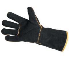 Перчатки кожаные с крагами на подкладке (чорные,