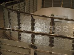 Metal spiral staircases, glass, stone, from the