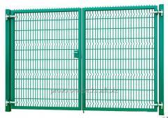 Ворота распашные 2,43х4м, 3Д с замком-ручкой, цинк+полимерное покрытие