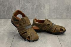 Подростковые сандали кожаные летние оливковые