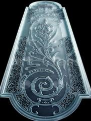 Glass figured, glass with an ornament, a decor on
