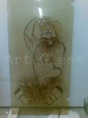 Glass door with an exclusive decor