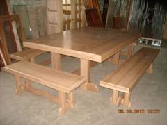 Стол для беседки, кухни, бани с масива ольхи