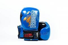 Боксерские перчатки PowerPlay 3007 синие карбон 10