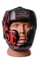 Боксерский шлем тренировочный PowerPlay 3048 Чорнo-красный M
