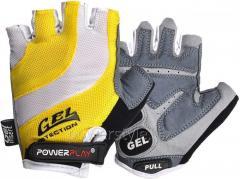 Велоперчатки PowerPlay 5034 B Бело-желтые L