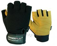 Перчатки для фитнеса PowerPlay 1574 черно-Коричневі L
