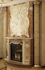 Portals for fireplaces from marble, granite, onyx
