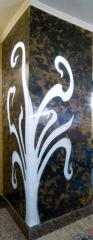 Decorative panels facing, facing of walls and a floor, an exclusive decor from glass, marble, granite, onyx