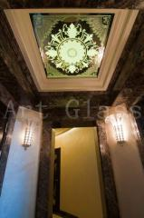 Decorative ceilings from glass and a mirror - a