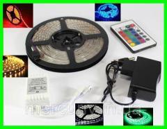 Разноцветная RGB 3528 LED лента 5м с пультом ДУ и