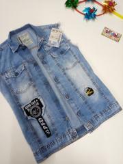 Комплект футболка и джинсовая жилетка детская на