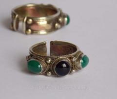 """Кольцо тибетское """"3 камня"""" с хризопразом"""