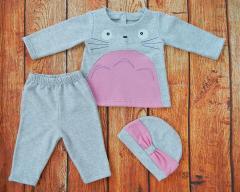 Комплект для новорожденной девочки, ткань с