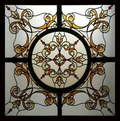 False stained-glass windows,  laid on...