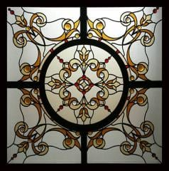 False stained-glass windows, laid on stained-glass