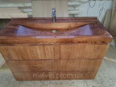 Wooden washbasin with drawer