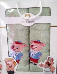 """Набор полотенец в подарочной упаковке Свинки"""""""
