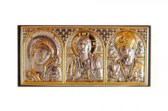 Икона Триптих в машину Казанская, Иисус, Николай