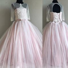 Детское Легкое Платье из евросетки розового цвета