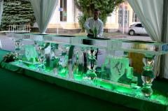 Ice bars, ice figures for a buffet reception, ice
