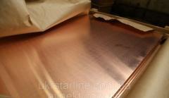 Лист медный 45.0х600х1500 мм М1, М2 (мягкий, твёрдый)