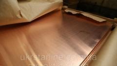 Лист міді 1х600х1500 мм від 0.4 мм до 12 мм М1 М2