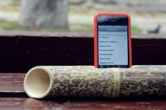 The loudspeaker from a bamboo for iPhone