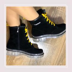 Женские зимние ботинки натуральная замша в стиле
