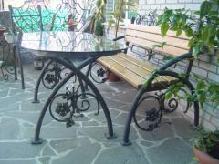 Стол и лавка кованые