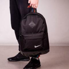 Стильный городской спортивный рюкзак NIKE, Найк. Черный. Ромбик