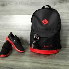 Хитовая расцветка Рюкзак городской Nike (Найк) кожаное дно, спортивный. Черный с красным вставками. Молодежный, стильный.