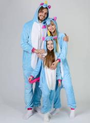 Пижама кигуруми Взрослые и Детские Единорог Голубой