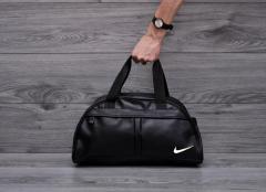 Фитнес-сумка в стиле Nike найк для тренировок. Черная. Кожзам