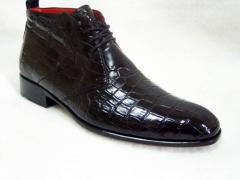 Boots from leather of a crocodile