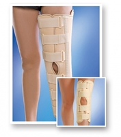 Bandage on a knee joint with stiffening ribs with