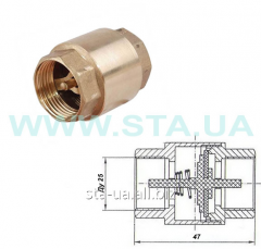Backpressure brass valve muftovy Du25mm