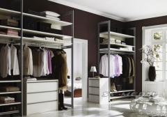 Clothes on aluminum racks