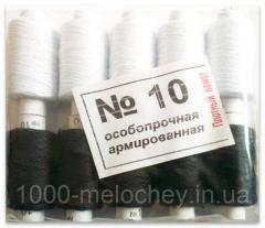 Нитки особопрочные армированные полиэстеровые №10, черные-белые, упаковка 10 шт. (22мм)